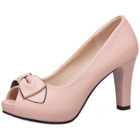 [Melady] レディース 可愛い 蝶結び パンプス 太ヒール 通勤靴 スリップオン 厚底 ピープトウ パーティー 結婚式 靴 Pink Size 34