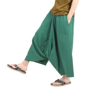 [OKI(オキ)] ガウチョパンツ 袴パンツ ワイドパンツ メンズ レディース エスニック サルエルパンツ スカンツ タイパンツ (グリーン)