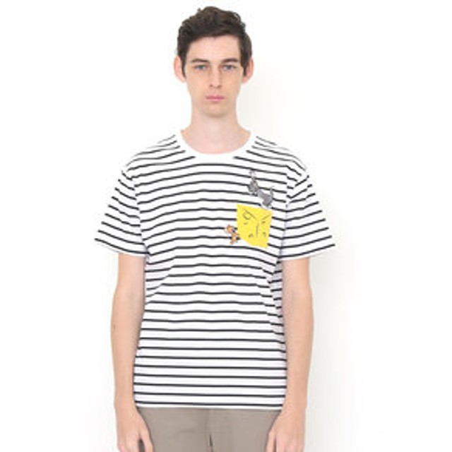 【グラニフ:トップス】グラニフ Tシャツ メンズ レディース 半袖 ビッグチーズ(トムとジェリーボーダーショートスリーブティー)