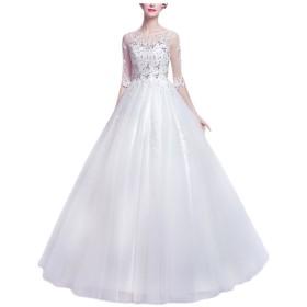 AIKOSHA ROMAN ウェディングドレス ドレス 結婚式 二次会 花嫁 パーティードレス ウエディング ブライダル 大きいサイズ ホワイト XS