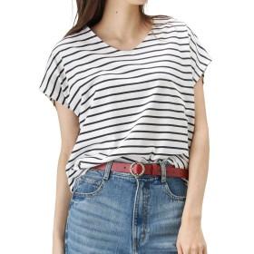 Navy(ネイビー) ドロップショルダーTシャツ 半袖Tシャツ ドロップショルダー ゆったり OGCS9003 レディース ホワイト×ネイビー:M