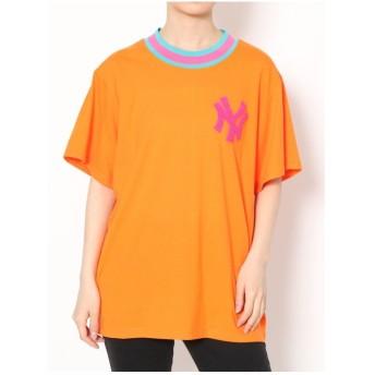 jouetie New York Yankees ラインリブ Tシャツ(オレンジ)