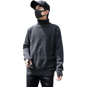 Alhyla メンズ セーター ブラウス 長袖 韓国風 ゆったり 厚手 冬 着痩せ ニットセーター ショートセーター 通勤 通学ブラックbs3