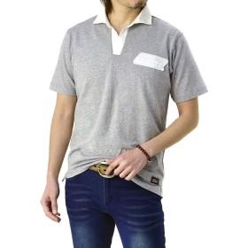 (ジェニュインディッキーズ) GENUINE Dickies ポロシャツ メンズ 半袖 スキッパー 綿 コットン ワーク / C2Q / M 29・杢グレー・mixgray