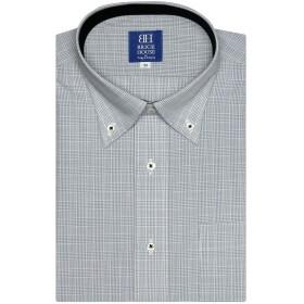 ワイシャツ 半袖 形態安定 ボタンダウン グレー×白チェック 新体型 クロ・グレー 37(半袖)