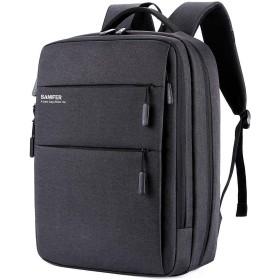 Saniferビジネスリュック バックパック メンズ リュックサック 大容量 撥水 15.6インチpcバッグ USB充電ポート 通勤 出張 盗難防止 (ブラック)