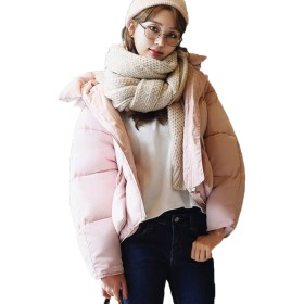 JIANGWEI ダウンコート レディース ダウンジャケット 中綿 防寒着 ブルゾン ショート丈 カジュアル フード付き 原宿風 BF風 無地 ゆったり かわいい ピンクXL