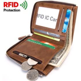 新しい 男性用 財布 コインポケット ショートウォレット 抗ラジオ 周波数識別 RFID, (Color : Brown, Size : S)