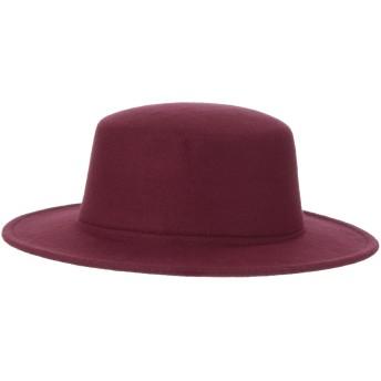 GEMVIE メンズ ボーラーハット フォーマル 紳士帽 帽子 ハット つば広 アウトドア 無地 お出かけ 旅行 おしゃれ 秋冬 ワインレッド