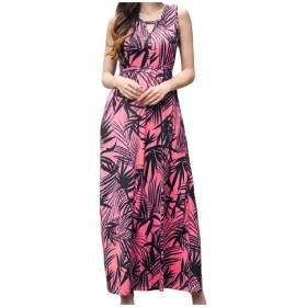 Tootess 女性ビーチボヘミアンプリントノースリーブハイウエストロングドレスを着る Red M