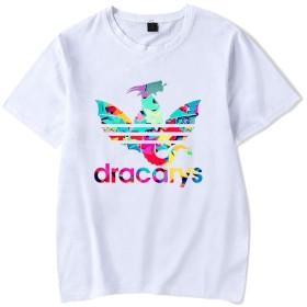 記念シャツ dracarysTシャツ インナーシャツ おしゃれティーシャツ メンズファッション uネック 半袖 夏服 ギフト 誕生日プレゼント (ホワイト, M)