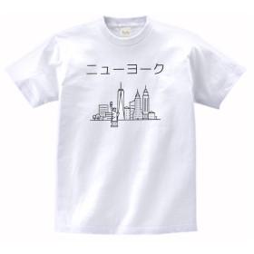 【ノーブランド品】 おもしろ デザイン ニューヨーク カタカナ Tシャツ 白 MLサイズ (L)