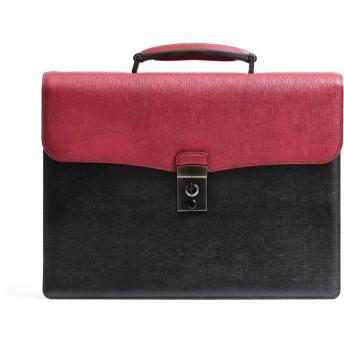[フジタカ] レザービジネスバッグ A4 カブセ ディアマン No.621504 クロxアカ