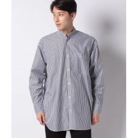 コエ ロングストライプ&チェックバンドシャツ メンズ ストライプネイビー L 【koe】