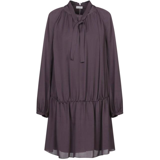 《セール開催中》BRUNELLO CUCINELLI レディース ミニワンピース&ドレス パープル M シルク 100% / 真鍮/ブラス