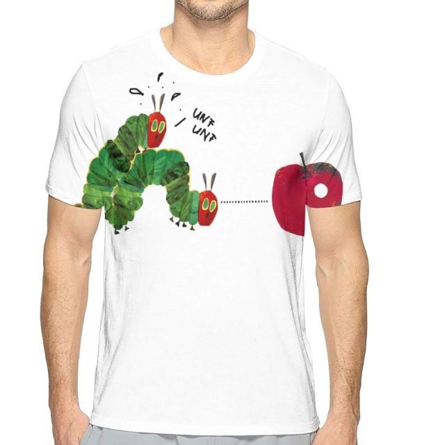 TradingCo 大人 メンズ 半袖Tシャツ はらぺこあおむし Oネック ティー Tシャツ シャツ 通勤 通学 普段着 M