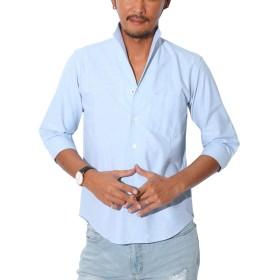 LUX STYLE(ラグスタイル) シャツ メンズ イタリアンカラー トップス 7分袖 綿 無地 サックスL