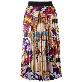 chenshiba-JP Women Graffiti Pleated Skirts Printed Elastic Waist A-Line Maxi Long Summer Skirt 1 XL