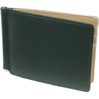 札ばさみ 名入れ 2色 の カラー コンビネーション 牛革 製 8414 (ダークグリーン)03025703