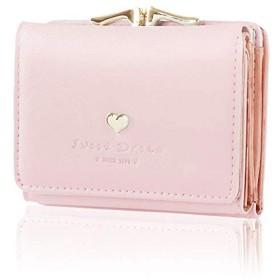 ICOUCHI レディース 財布 三つ折り財布 ミニ財布 がま口 多機能 大容量 人気 ウォレット カード小銭入れ かわいい おしゃれ 女性用 ピンク