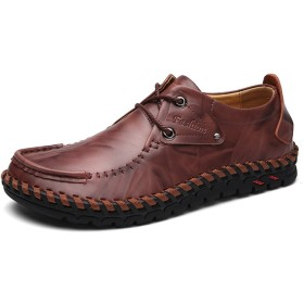 [QIFENGDIANZI] メンズ カジュアルシューズ デッキシューズ 手作り 革靴 紳士靴 ドライビングシューズ ローカット オシャレ スリッポン コンフォート 軽量 耐磨耗 通気性 24.5cm レッド
