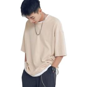 SHOOWTIME(ショウタイム) 韓国ファッション メンズ tシャツ ビックシルエット F (ベージュ) XL