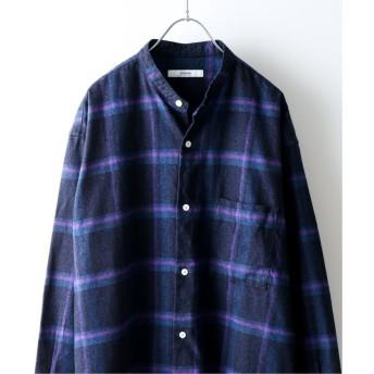 ジャーナルスタンダード インディゴチェック バンドカラーシャツ メンズ パープル M 【JOURNAL STANDARD】