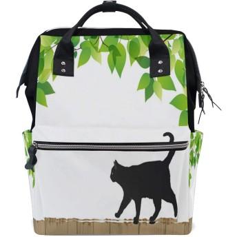 Carrozza リュックサック 学生 リュック レディース 猫 猫柄 黒ネコ 葉 マザーズバッグ ビジネスリュック デイバッグ メンズ 大容量 がま口 かわいい おしゃれ 通勤通学