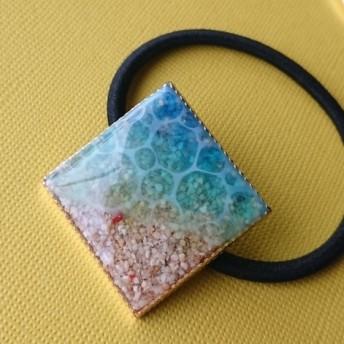 レジン 海塗り ヘアゴム スクエア型
