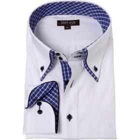 ワイシャツ メンズ 大きいサイズ ダブルカラー ビジネス ボタンダウン 白 シャツ/WHT-409/8L サイズ