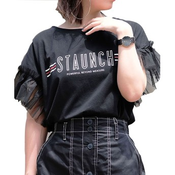 [アンドジェイ] 袖フリル チュール 切り替え ライン ロゴ Tシャツ (3931) ブラック M レディース トップス カットソー 袖 フリル フレ