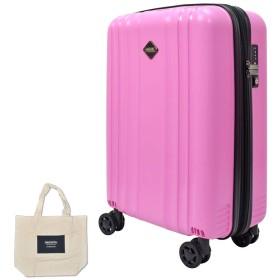 [ ブルーセンチュリー ] BlueCentury [ WZ ] シリーズ 超軽量スーツケース TSAロック搭載 4色展開 ポケット多 32L / 54L / 85Lの3サイズ (S, パステルピンク) 大判トートバッグ付き!