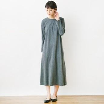 綿混素材の天竺編み着回しロングワンピース