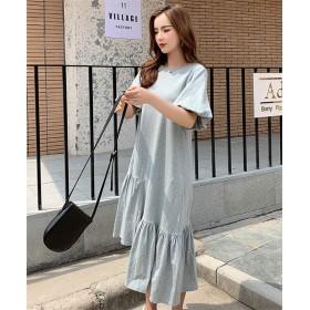 【5月限定 】 韓国ファッション 2019 春 新着 韓国 女性 学院風 不規則 パフスリーブ ワンピース 縫付 ロング サマー レトロ カレッジ風 Tシャツ レジャー スリム ゆったりする