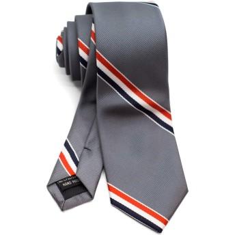 [ダブリューアンドエム] ビジネス 細 ネクタイ ナロータイ スリムタイ スキニータイ 6cm 幅 洗濯 可能 レジメンタル ストライプ 縞 模様 柄 グレー 灰色 フランス リボン