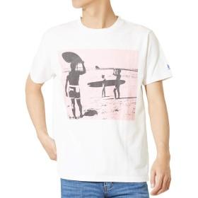 TES Tシャツ メンズ ブランド 半袖 レディース テス The Endless Summer ザ エンドレスサマー ロゴ プリント クルーネック 半袖Tシャツ カットソー ホワイト 白 ピンク L サイズ