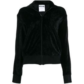 Moschino logo stripe velvet zip-up jacket - ブラック