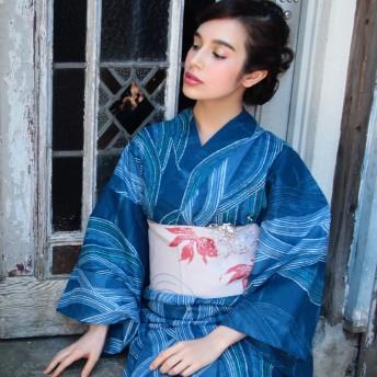 浴衣・着物の帯 - ホンコンマダム 浴衣 レディース 帯 波紋金魚 白 日本製 オリジナル織り柄 半幅帯 第一会場(d5609) (帯単品)