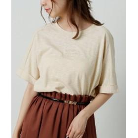 (Ray Cassin/レイカズン)スラブ天竺ロゴ刺繍Tシャツ/レディース 生成