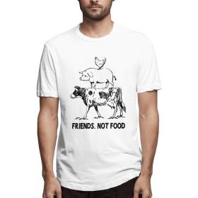 Yikaite Tシャツ メンズ 半袖 牛 豚 鶏 友 食べ物 夏 Tシャツ メンズ Tシャツ 五分袖 ゆったり 五分袖 半 薄 White XL