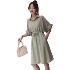 DeBangNiレディース シフォン ワンピース 夏 スカート ゆったり おしゃれ シンプル Aライン ワンピース 半袖 ワンピースグリーンN1