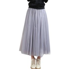 Cozy Maker(C&M)チュールスカート ロングスカート レディース ロング丈 ウエストゴム レース フレアースカート 無地 結婚式 二次会 ふんわり Aライン ミモレ丈 かわいい (XL(90CM), グレー)