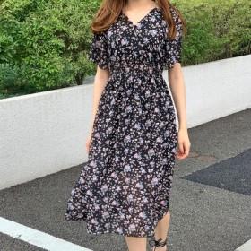 ♪送料無料 夏セール30%割り♪韓国大人可愛い人気小花柄ロングワンピース