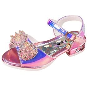 [Kukiwa] フォーマル キッズサンダル ダンス 女の子靴 プリンセス 蝶結び 真珠 子供靴 スリッパ キッズ通学 可愛い女の子 滑り止め 履き脱ぎやすい ドレスシューズ 上品 プレゼント 出かけ