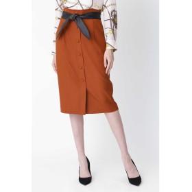 ◆レザーリボン付きフロント釦スカート ブラウン
