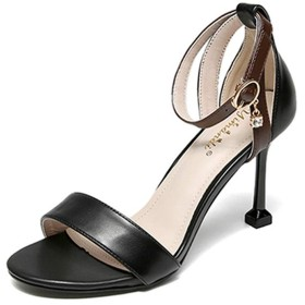 [SENNIAN] ハイヒール ストラップ ピンヒール サンダル レディース 履きやすい 疲れにくい 黒 痛くない 夏 靴 日常着用 23.5cm ヒール 軽量 二次会 サンダル ストラップ サンダル ブラック ストラップ シューズ 無地 小さいサイズ きれい