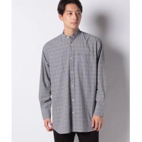 【55%OFF】 コエ ロングストライプ&チェックバンドシャツ メンズ ハウンドトゥース L 【koe】 【タイムセール開催中】