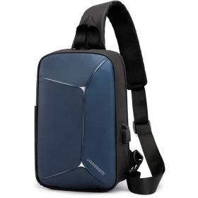 ACHICOO チェストバッグ クロスボディ ショルダーバッグ シングルショルダーバッグ ボディバッグ バッグ 携帯電話バッグ メンズ 男性 USB ビジネス シングル スポーツ ジッパー ショルダー 防水 青