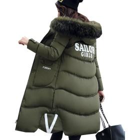 DuWei (ドゥウェイ) ダウンジャケット ロング丈 中綿コート レディース アウター 軽量 防風 防寒コート 細身ジャケット トップス 秋冬 無地コート おしゃれ 暖かい シンプル 女性用 フード付く 大きいサイズ (グリーン, 3XL)
