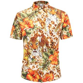 Pizoff(ピゾフ) メンズ 花柄シャツ 半袖 大きいサイズ 原宿系 b系 お兄系 ストリート 夏シャツY1936-15-S